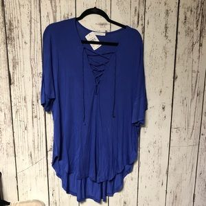 NWT Lush Blue Lace Tie Top Large